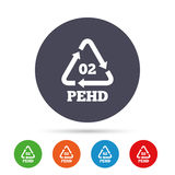 Hd-pe 02 sign icon. High-density polyethylene. Hd-pe 02 icon. High-density polyethylene sign. Recycling symbol. Round colourful buttons with flat icons. Vector Royalty Free Stock Photos