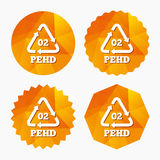 Hd-pe 02 sign icon. High-density polyethylene. Hd-pe 02 icon. High-density polyethylene sign. Recycling symbol. Triangular low poly buttons with flat icon Stock Images