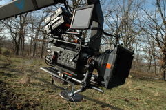 HD red camera on crane stock photography