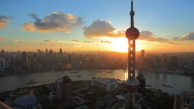 HD: Shanghai skyline at sunset, timelapse. stock video
