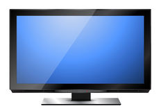HD television. Modern HD television with blue screen Stock Photos