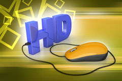 Hd text connected with computer mouse Royalty Free Stock Photography