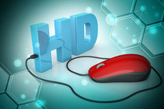 Hd text connected with computer mouse Royalty Free Stock Images