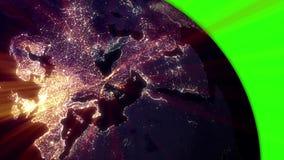 HD - Tierra de giro en la llave del cromo de la pantalla del verde de la noche almacen de metraje de vídeo