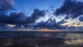 HD Time lapse. moving clouds over ocean. At sunset in Karon beach, Phuket, Thailand stock video