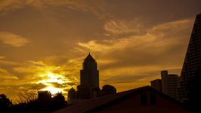 HD Timelapse. Golden sunset in Bangkok city view stock footage