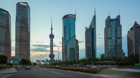 HD: traffic in Shanghai Pudong at dusk, timelapse stock video footage