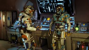 Two soldiers of the future arguing on a spaceship