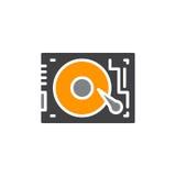 HDD, значок вектора дисковода жесткого диска Стоковые Изображения