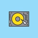 HDD, дисковод жесткого диска заполнило значок плана Стоковая Фотография