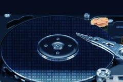 HDD Конец-вверх открытого жесткого диска компьютера Стоковые Фото
