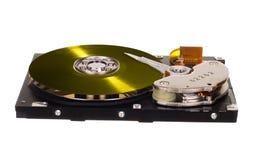 HDD с желтым диском винила вместо магнитной плиты Стоковая Фотография