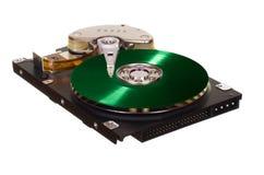 HDD с зеленым диском винила вместо магнитной плиты Стоковые Изображения