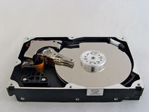 Hdd. Isolated opened hard drive Stock Photo