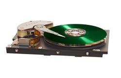 HDD avec le disque vert de vinyle au lieu d'à plaque magnétique Images libres de droits