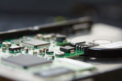 HDD Circuit. Circuit and component on the  HDD Royalty Free Stock Image