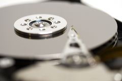HDD closeup. Macro of the open Hard Drive platters and heads Royalty Free Stock Photography