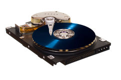 HDD com o disco azul do vinil em vez da placa magnética Fotografia de Stock Royalty Free