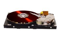 HDD con el disco rojo del vinilo en vez de con metalizado magnético Foto de archivo libre de regalías
