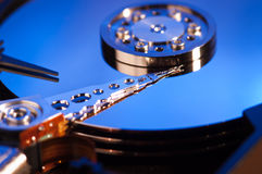 Hdd concept, hard drive disc. Blue Royalty Free Stock Image