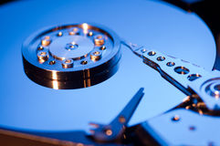 Hdd concept, hard drive disc. Blue Royalty Free Stock Photography
