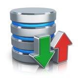 HDD-databas och säkerhetskopiabegrepp stock illustrationer