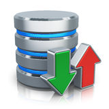 HDD database and backup concept. HDD business database, backup and cloud computing service concept: metal HDD icon with green download and red upload arrows stock illustration