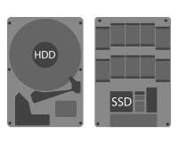 Hdd de la unidad de disco duro e icono del SSD Fotos de archivo libres de regalías
