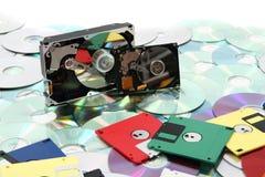Hdd, disco blando, dvd y fondo de los datos del CD-ROM Foto de archivo libre de regalías