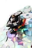 Hdd, disco blando, dvd y fondo de los datos del CD-ROM Imágenes de archivo libres de regalías