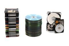 Hdd, disco blando, dvd y fondo de los datos del CD-ROM Imagenes de archivo
