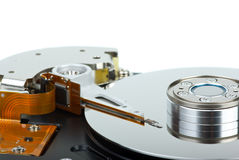 Hdd drive from inside. Isolated on the white background. Focus point - heads unit Royalty Free Stock Image