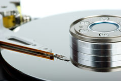 HDD drive inside. Focused on drive head unit Stock Image