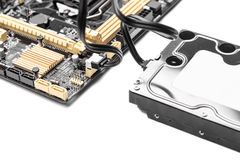 HDD drive isolated. HDD hard drive with cable connected to motherboard.  Concept of cloud drive, or communications Royalty Free Stock Photo