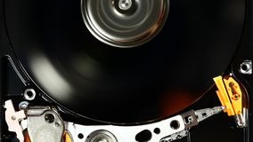 HDD drive spin up and head movement stock footage