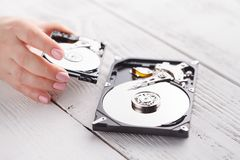 Hdd drives in hands. Close up Stock Photos