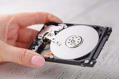 Hdd drives in hands. Close up Royalty Free Stock Photo