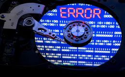 Hdd error. Red word ''error'' on blue hdd surface Royalty Free Stock Photo