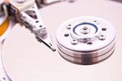 HDD Hard Disk Drive. (inside view Stock Photo