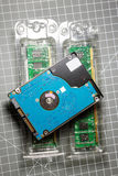 2,5 HDD hard disk drive on two RAM Random-access memory s Stock Photo