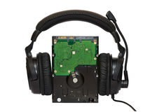 HDD with headphones. On top Stock Photo
