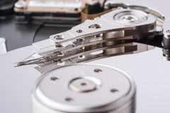 HDD heads close up. Royalty Free Stock Photos