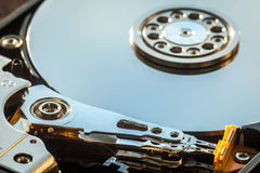 HDD internal parts close-up shot Royalty Free Stock Image