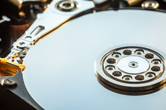 HDD internal parts close-up shot Royalty Free Stock Photos