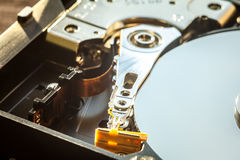 HDD internal parts close-up shot Royalty Free Stock Photo