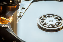 HDD internal parts close-up shot Stock Image