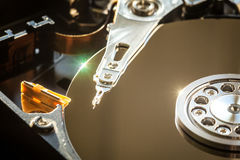 HDD internal parts close-up shot Stock Images