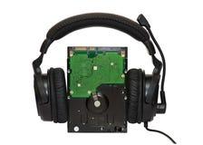 HDD mit Kopfhörern Stockfoto