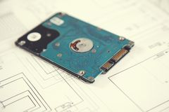 HDD op papier royalty-vrije stock foto's