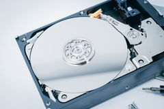 HDD open Harding drive inside computer storage. Technology blue tech color tone Stock Photo